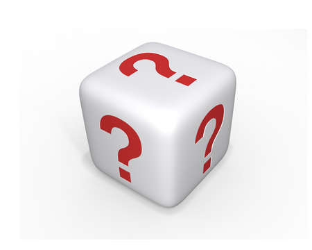 White dice with question marks on all sides, uncertain concept. Stock Photo - 11918521