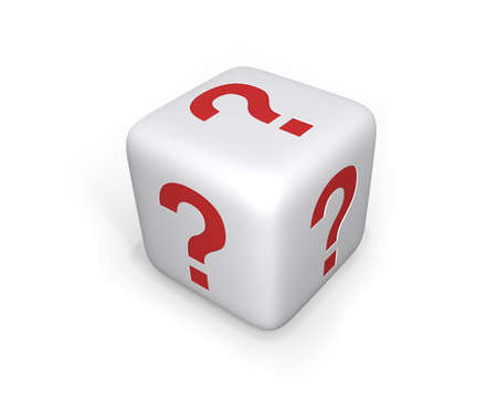 red dice: White dice with question marks on all sides, uncertain concept.