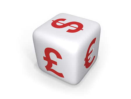 symbol british: A white dices with Dollar, British Pound and Euro symbol in red on its sides, on a white background with shadows.