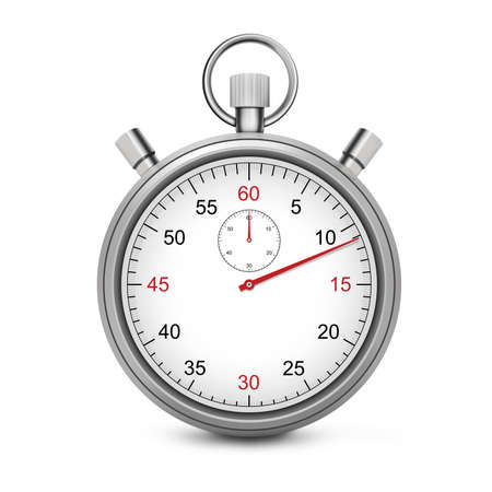 chronometer: Sport Stopwatch with red second hand isolated on a white background.