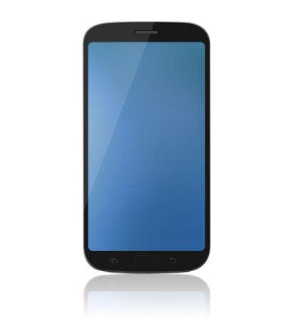 Moderne touch-screen internet mobiele telefoon  gsm die op een witte achtergrond met reflectie.