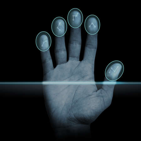 authenticate: Modern fingerprint scanning device - biometric security system. Stock Photo