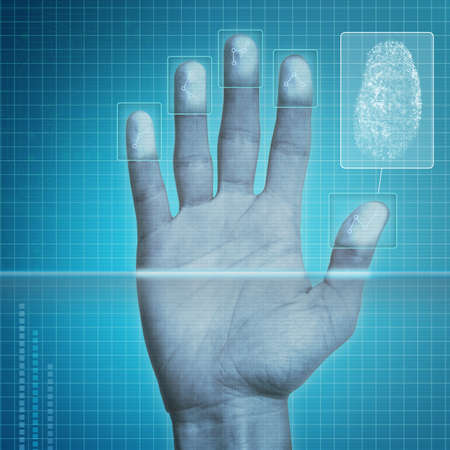 lock  futuristic: Futuristico dispositivo di scansione delle impronte digitali - sistema di sicurezza biometrico.