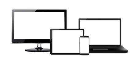 HD-televisie, moderne laptop, tablet en mobiele telefoon mobiele telefoon met een leeg scherm geïsoleerd op een witte achtergrond Stockfoto