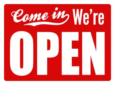 Typische open teken voor een winkel, cafe of bedrijf om klanten te laten weten dat ze open zijn voor het bedrijfsleven Perfect als onderdeel van een ontwerp of winkel