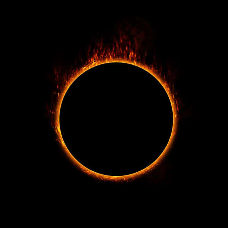 Burning ring of fire  concept for eclipse, solar energy, heat or use in a design photo