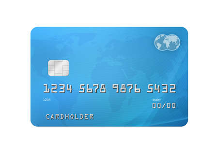 Generic Credit Debit Card with world map on the background and corporate colours of grey and blue  Isolated on a white background with clipping path Stock Photo