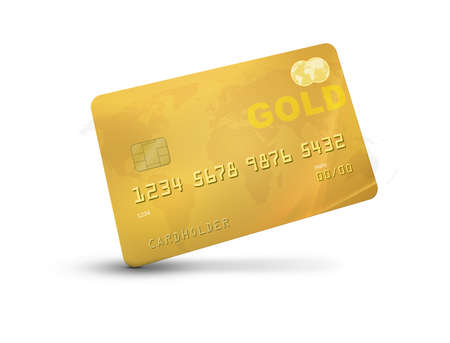 Gold credit card or debit card representing rich or luxury with world map on the background.