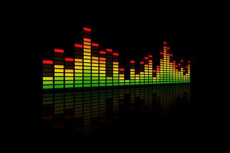 Electronic music equalizer bar, representing music, beat or sound. With a reflection