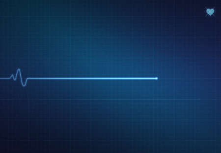 Flatline blip op een medische hartmonitor ECG (elektrocardiogram) met blauwe achtergrond en hart symbool.