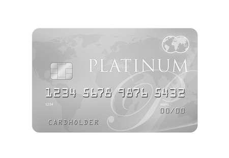 世界地図背景とプラチナのクレジットデビット カード