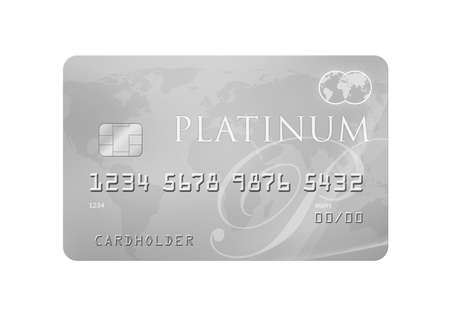 white card: Platinum CreditDebit Card with world map on the background