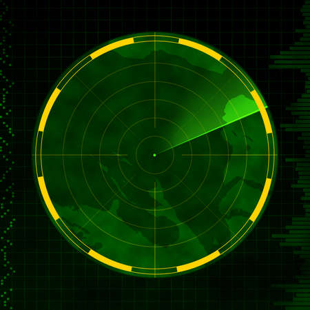 Radar with an empty screen and green sweeping arm