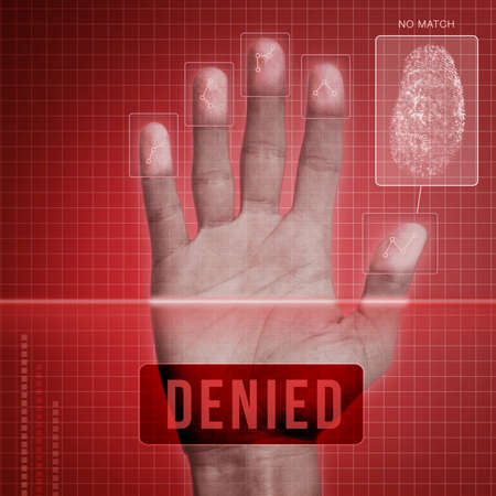 access restricted: Futuristic fingerprint scanning device - biometric security system  Stock Photo