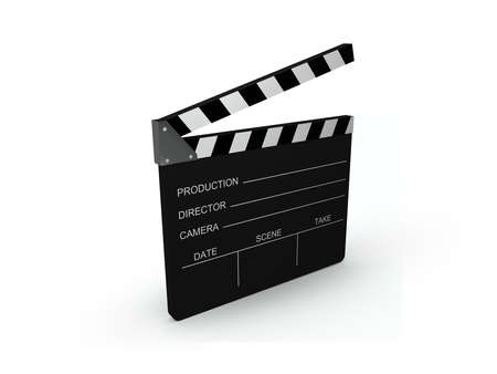 filming: Film slate isolated on a white