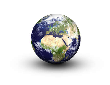 Earth Globe in 3D in high resolution showing Europe and Africa, isolated on a white Stock Photo