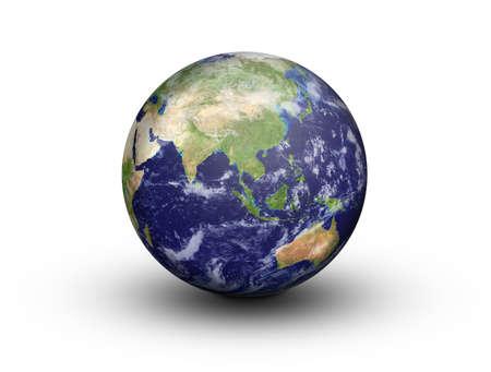 Bol van de aarde in 3D tonen Azië en Australië in hoge resolutie, geïsoleerd op een witte achtergrond met clipping path gewijzigd NASA beelden http Visibleearth nasa gov Stockfoto