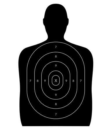 Gun schietbaan doel de vorm van een mens, leeg, zonder kogelgaten Geïsoleerd op een witte achtergrond met het knippen van weg