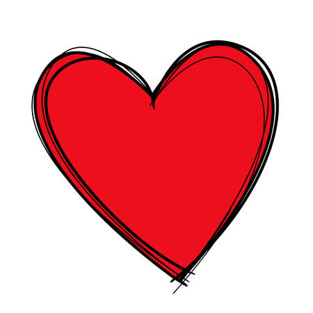 adore: Red heart drawn with black lines and filled in with deep red.
