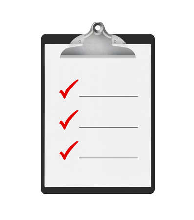 To do check list on a black clipboard, isolated on a white background. Lots of space to add your own text.