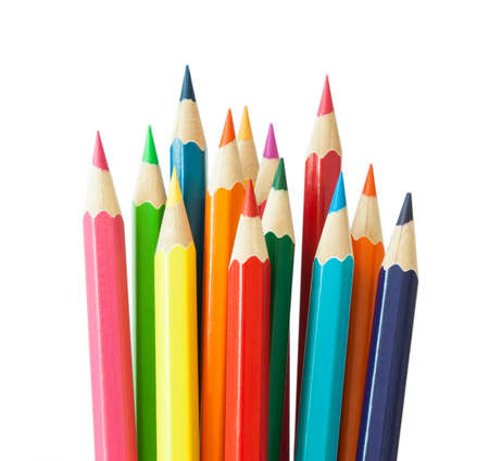 Colored pencils, including red,blue,yellow,green,orange and pink, isolated on a white background. Stock Photo