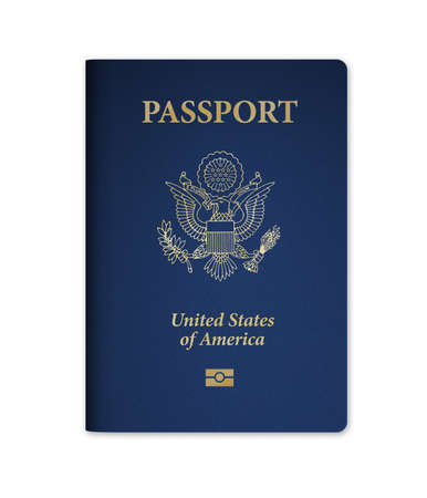 United States of America passport with embedded electronic biometric microchip. Isolated on a white background with clipping path