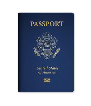 Verenigde Staten van Amerika paspoort met ingebouwde elektronische biometrische microchip. Geïsoleerd op een witte achtergrond met het knippen van weg Stockfoto