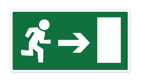 bail: Green emergency exit sign with man running to door with arrow demonstrating direction. Isolated on a white background with clipping path.