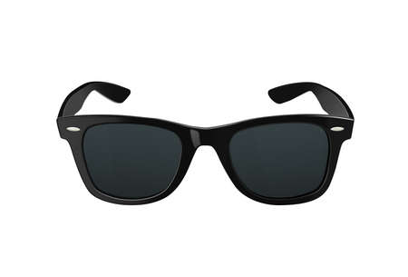 Black sunglasses or shades, with plastic rims and tinted lenses, both modern and retro fashion.