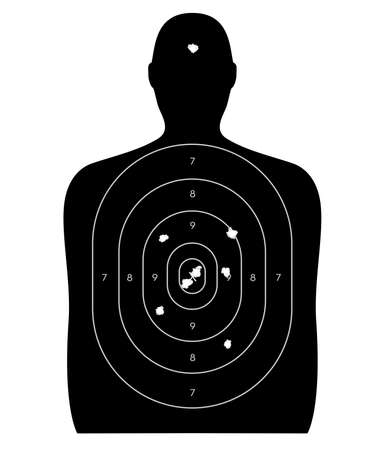 Gun firing range target shaped like a human, with bullet holes in the bull\'s-eye and a headshot. Isolated on a white background