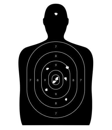 Gun schietbaan doel de vorm van een mens, met kogelgaten in de roos en een headshot. Geïsoleerd op een witte achtergrond Stockfoto