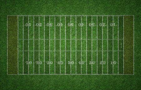 Groen gras Amerikaanse voetbal veld met witte lijnen markeren van het veld.