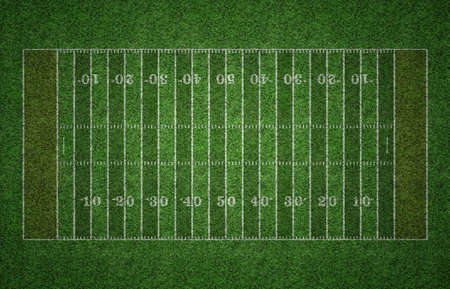 Green grass American football field with white lines marking the pitch. Archivio Fotografico