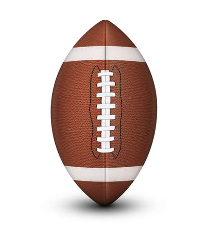 Traditional American football ball, with laces and white stripes isolated on a white background