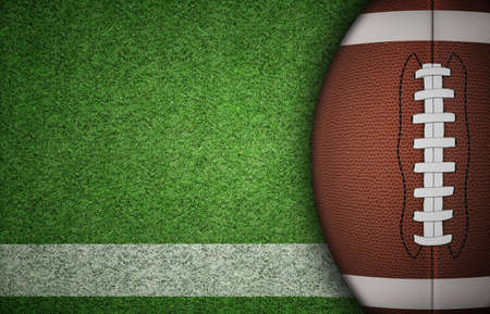 sideline: American football ball on green grass and white line. with lots of copy space. Stock Photo
