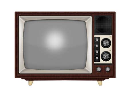 Oude stijl retro buis TV met de frequentie knoppen en houten stijl behuizing. Geïsoleerd op een witte achtergrond met het knippen van weg.