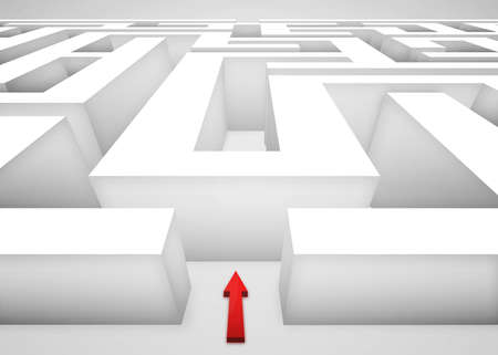 challenges ahead: 3D Maze or labyrinth and a red arrow at the entrance. Business concept of challenges and choices ahead.