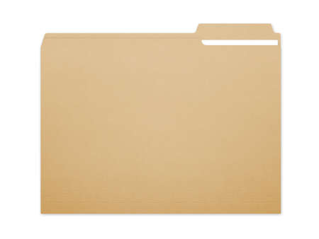 case: Blank brown card folder file with paper showing with a lot of copy space. Isolated on a white background with clipping path.