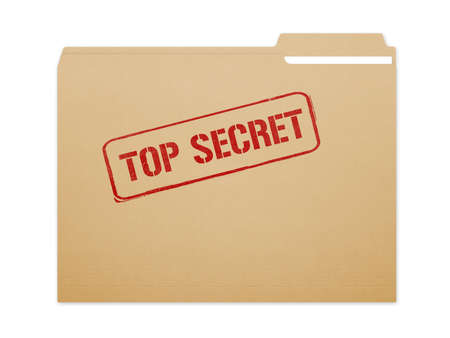 organised: Top secret brown folder file with paper showing with a lot of copy space. Isolated on a white background with clipping path.
