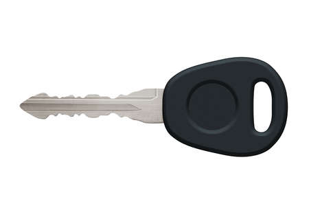 Car or motorbike key with silver shaft and black handle with hole of a key ring. Isolated on a white background with clipping path.