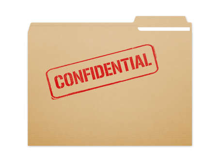 Confidential brown folder file with paper showing with a lot of copy space. Isolated on a white background with clipping path.