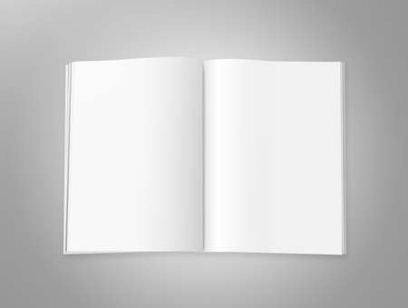 Blank magazine with double spread pages, on a gray background with shadows. Stock Photo
