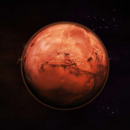 lifeless: Planet Mars in space, visible red rock planet with thin red atmosphere with distance stars in the background. Elements of this image supplied by NASA. Stock Photo