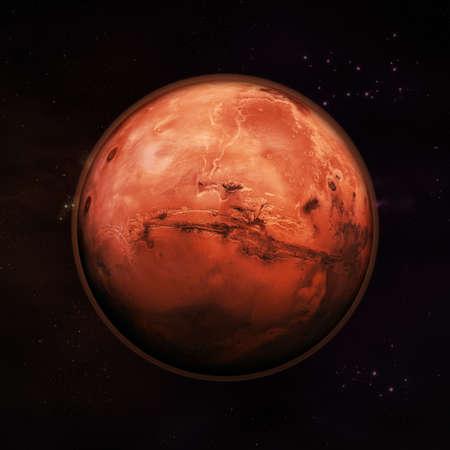 atmosphere: Planet Mars nello spazio, visibile rosso pianeta roccia con l'atmosfera rossa sottile con stelle a distanza in background. Elementi di questa immagine fornita dalla NASA. Archivio Fotografico