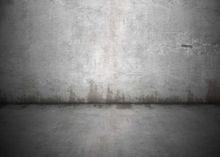 Concrete wall with dirty stains and grungy lighting and shadows. Lots of copy space, perfect for design background. photo