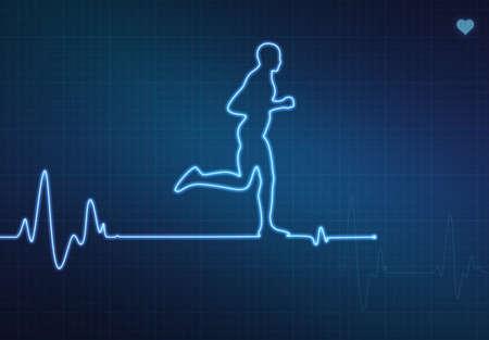 Runner-vormige blip op een medische hartmonitor (ECG - elektrocardiogram) met blauwe achtergrond en hart symbool.