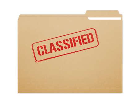 Geclassificeerd bruin omslagdossier met document dat met heel wat exemplaarruimte toont. Geïsoleerd op een witte achtergrond met uitknippad.