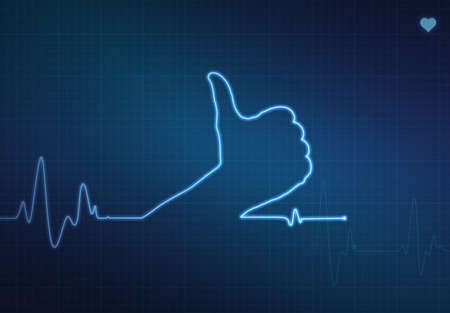 blip: Thumbs up shaped blip on a medical heart monitor (ECG - electrocardiogram) with blue background and heart symbol.