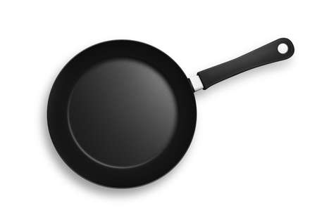 Black frying pan with plastic handle. Isolated on a white background with shadows and clipping path. Stock Photo