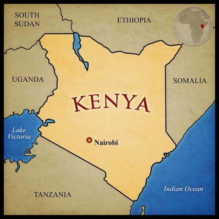 Kenya map and bordering countries with capital Nairobi marked. With location in Africa.